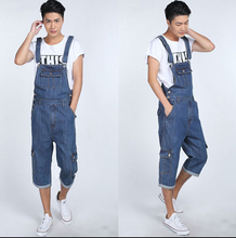 S-5XL 2015 Men's fashion pocket denim overalls for boys Male casual loose jumpsuits Plus large size jeans Bib pants denim shorts