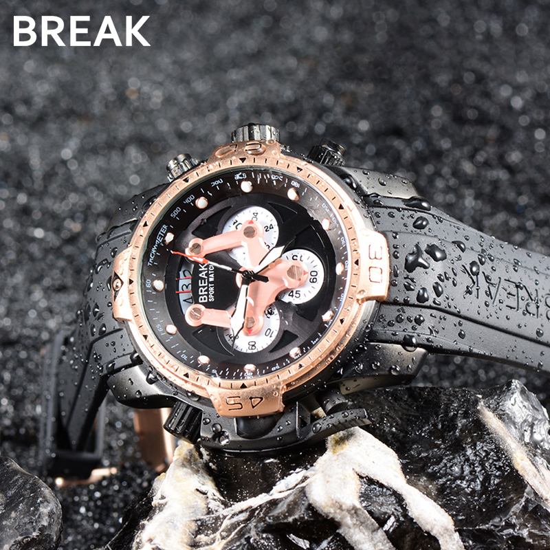 BREAK Men Top Luxury Brand Rose Gold Casual Fashion Rubber Band Military Quartz Sport Waterproof Wristwatch