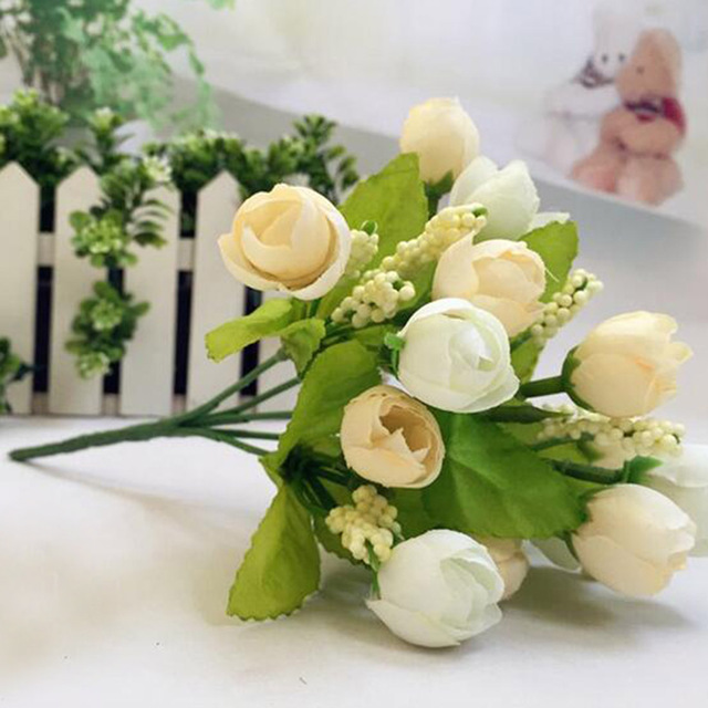 Cute 1bouquet 15 Heads Artificial Rose Plastic Fake Flower Leaf Home ...