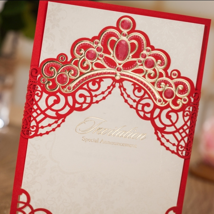 WISHMADE Custom Printed Embossed Chinese Red Laser Cut Wedding Card