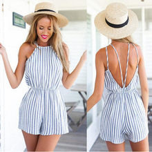 Summer 2016 New backless blue stripe women jumpsuit romper Elegant one piece sexy overalls Girl beach short playsuit