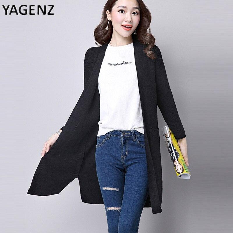 Yagenz 2017 демисезонный женщин длинный абзац свитер весна тонкий