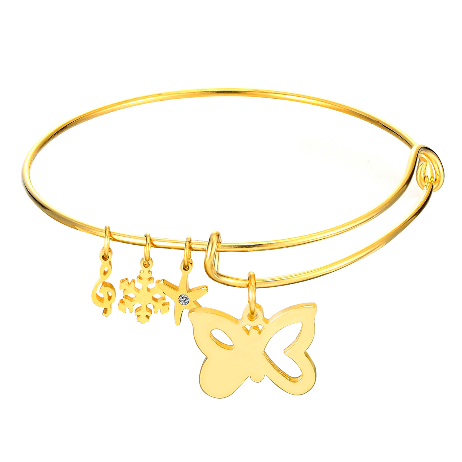 Gold Color Bangles Jewelry Butterfly Design Women Wedding Bracelet ...