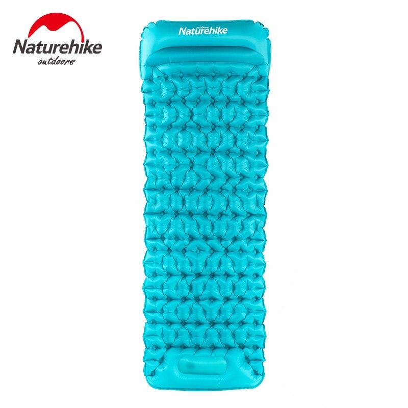 Naturehike camping mat hand press inflatable mattress ultralight single person tent pad with air pillow beach moistureproof mat