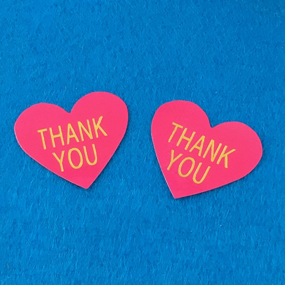 1200PCS/Lot Fashion heart-shaped printedTHANK YOUpaper Labels sealing Stickers packaging For Jewelry/Box/gift/car/envelope