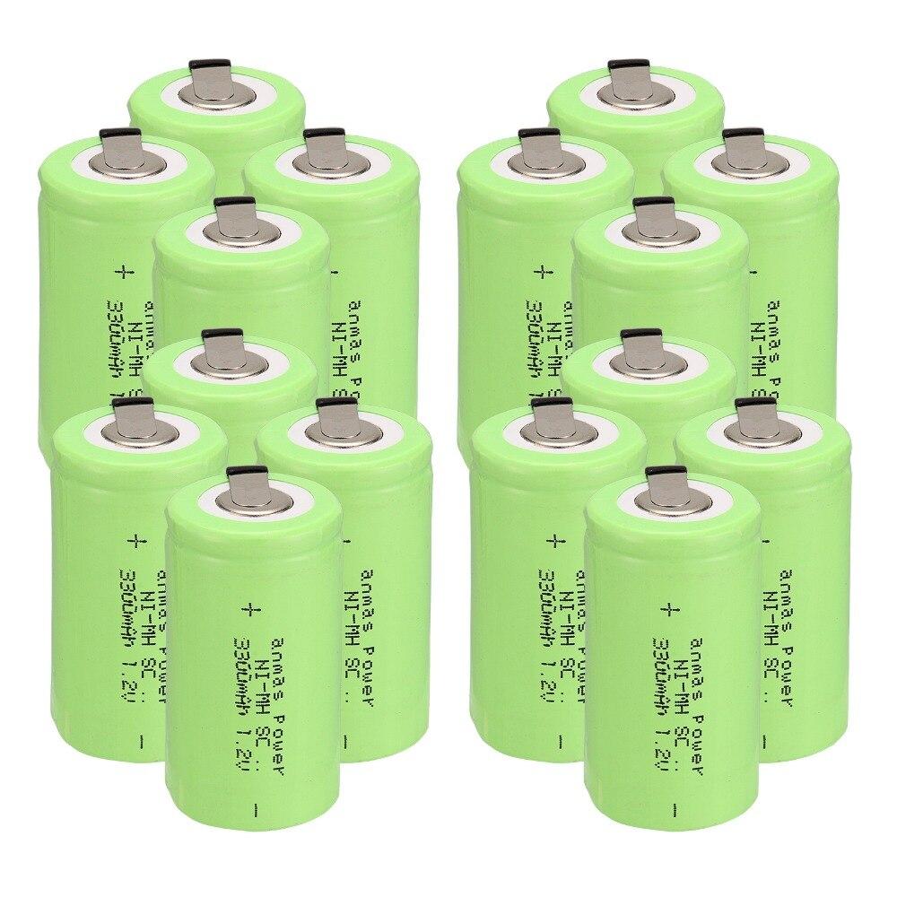 Anmas puissance 2-16 pièces couleur verte SC 3300mAh SC Sub C NI-MH cellule 1.2V batterie Rechargeable