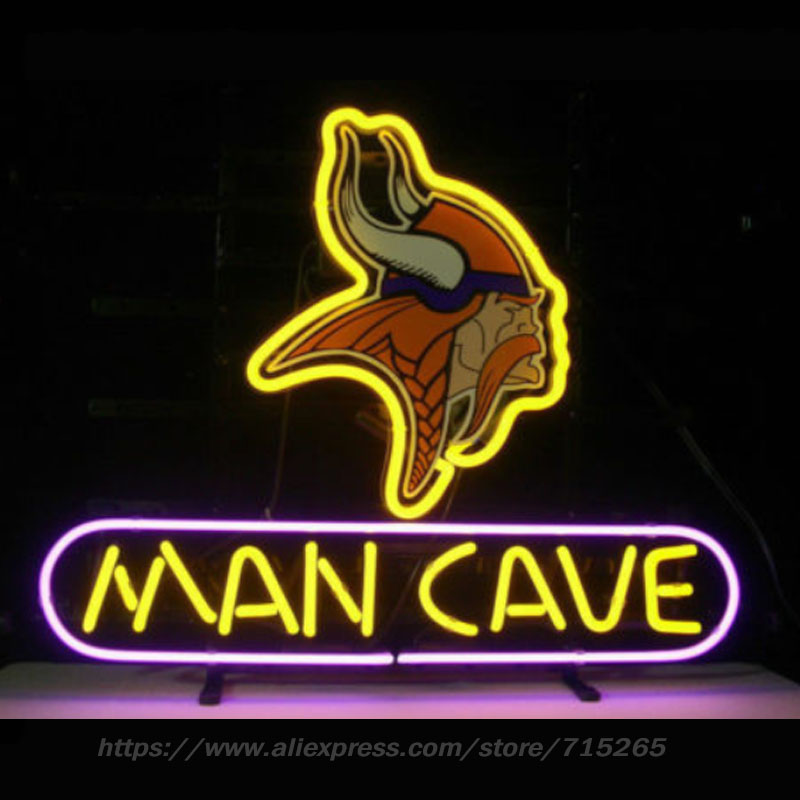 Neon Sign VIKINGS MAN CAVE Beer Bar Pub Store Display Neon Light Sign Arcade handcraft Glass Tube Board Lamps Publicidad 13x8 VD norms of nature – naturalism