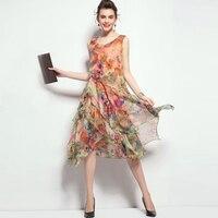 Summer Women Silk Chiffon Dress 2015 New Arrival High Quality Women Clothing Fashion Brand Printed Tank