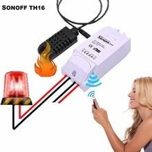 Sonoff th 10a, Sonoff TH16 WiFi Inteligente Interruptor Remoto controlador de prueba de Temperatura y Sensor de Humedad módulo de automatización Inteligente