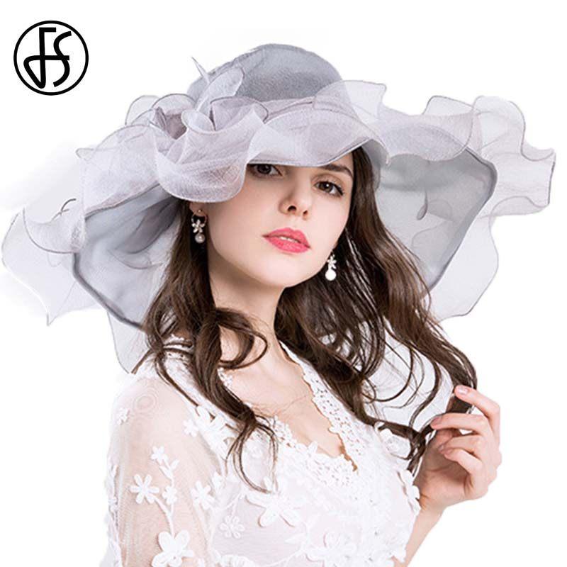 de493bf59 FS Summer Organza Wedding Hats For Women Elegant Big Flower Sun Hat Wide  Brim Fedora Beach Church Party Kentucky Derby Hats