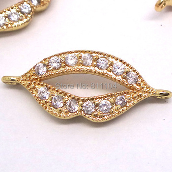 23x9mm Gold Plated Micro Pave Brass Metal Zircon CZ Crystal European Charms Lip Connectors Beads DIY Findings
