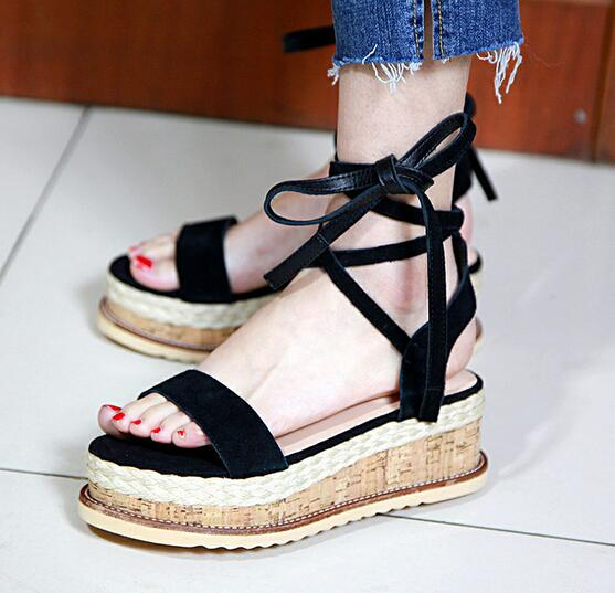 Hot Sale Summer Women Casual Sandals Bohemia Weave Ankle Strap Platform Thick Heel Sandals Vacation High Quality Shoes Female size 30 43 woman ankle strap high heel sandals new arrival hot sale fashion office summer women casual women shoes p19266