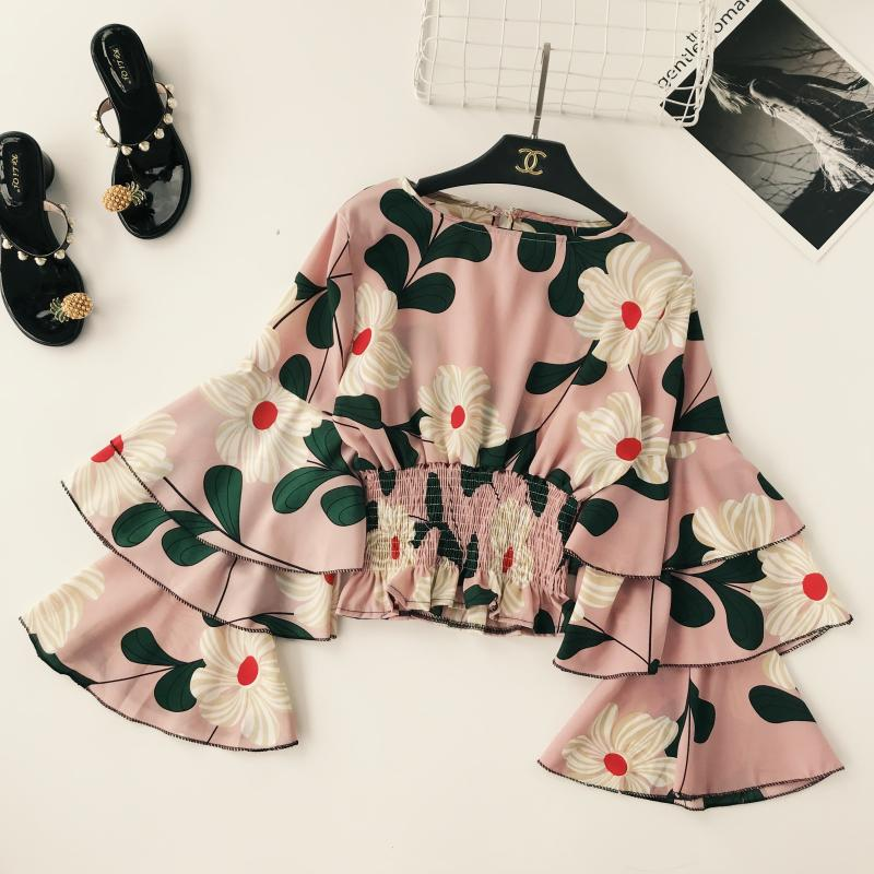Steady Women Long Flare Sleeve Tops Lady Round Collar Ruffle Elastic Waist Short Crop Tops Lady Holiday Print Shirts Blouse C647 Women's Clothing