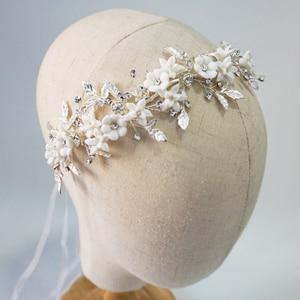 Image 4 - Delicate Silver Leaf Bridal Hair Vine Crown Handmade Porcelain Flower Headband uxury Wedding Headpiece Brides Hair Jewelry 2019