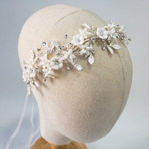Image 1 - Romantic Clay Flower Bridal Headpiece Antique Silver Leaf Hair Vine Wedding Crown Brides Hair Accessories 2019