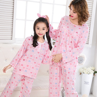 Autumn Casual Family Matching Cotton Long Sleeve Mom And Daughter Pajama Sets Cute Cartoon Keep Warm