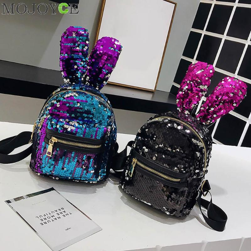 Mini Shining Sequins Backpack Cute Rabbit Ear School Bags for Baby Girls Shoulder Bag Women Baby Girls Backpack Travel RucksacksMini Shining Sequins Backpack Cute Rabbit Ear School Bags for Baby Girls Shoulder Bag Women Baby Girls Backpack Travel Rucksacks