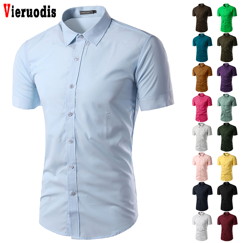 Men's Summer Short Sleeve Shirt  2019 New Mens Camisa Social Masculina Chemise Homme Solid Color Business Slim Fit Shirts 5631