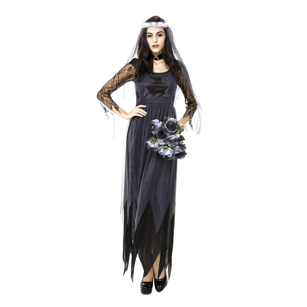women dress Lace Edge Gauze Ghost Bridal Gown Women Halloween Cosplay Clothes Holiday Party Role Playing dress