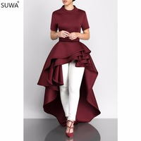 SUWA New europe hot fashion women dress ruffles evening elegant dress fit and flare vestidos femininos J1374