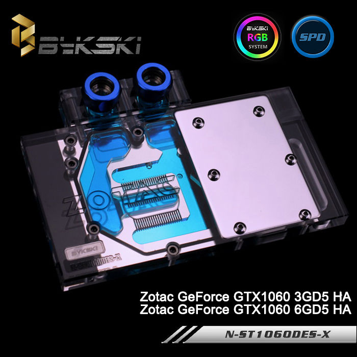 Bykski N-ST1060DES-X Full Cover Graphics Card Water Cooling Block RGB/RBW/ARUA for Zotac GeForce GTX1060 3GD5/6GD5 HA original for zotac mgt8012yb w20 turbo graphics card cooling fan diameter 7 3cm length 7cm 4wire