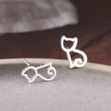 Real pure 925 sterling silver hollow cat earrings for women girls gift hot fashion kitty sterling-silver-jewelry brincos