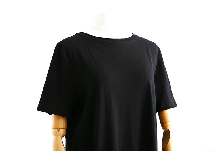 Side High Slit Short Sleeves Black Long T-Shirt Women Dress 6