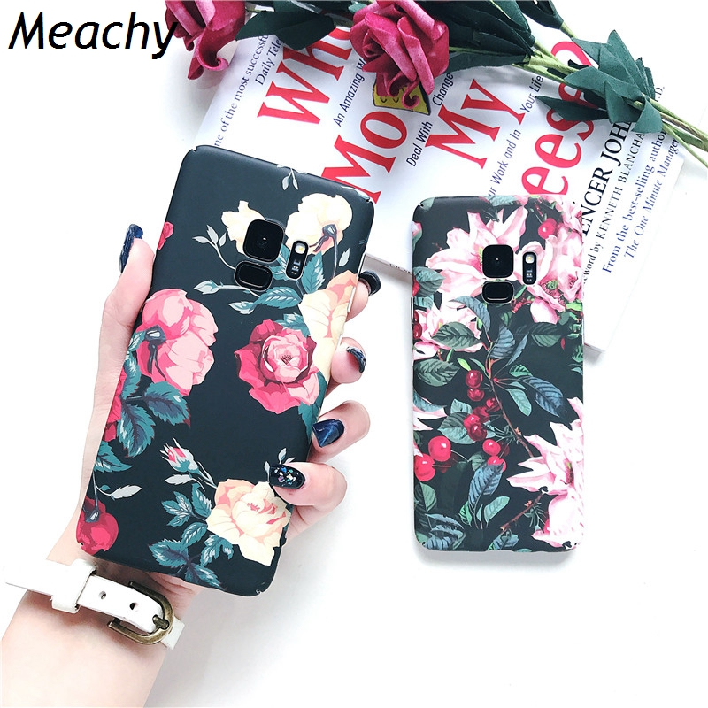 Meachy Hard Flower Case For Samsung Galaxy NOTE 9 S8 S9 Plus Note 8 Phone Case For Galaxy S7 Edge Cover Luxury Rose Coque
