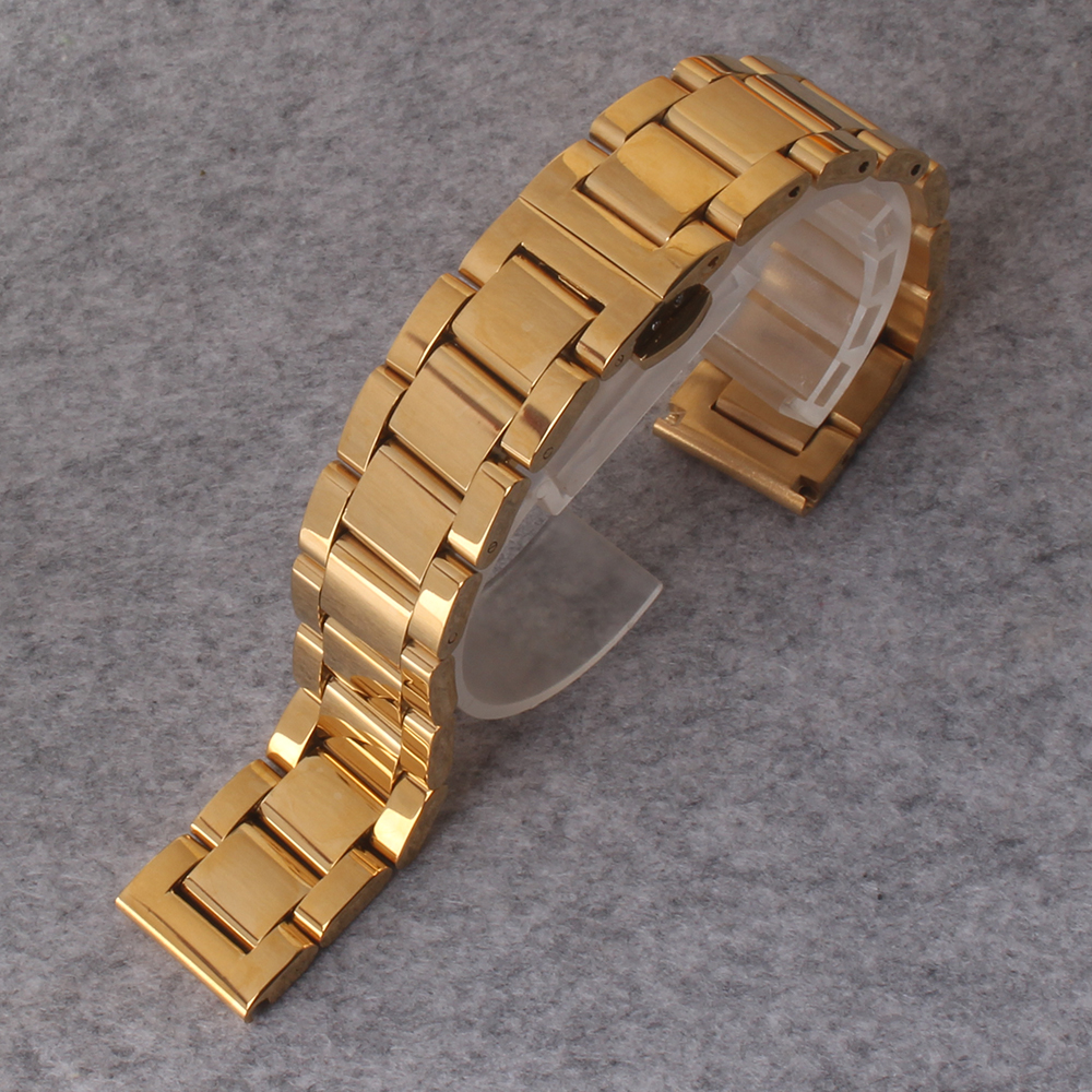Watchband 18mm 20mm 22mm 24 mm Mens Solid links Steel Watch Band Deployment Clasp Gold Bracelet Wrist Watchband Belt Male Straps стоимость
