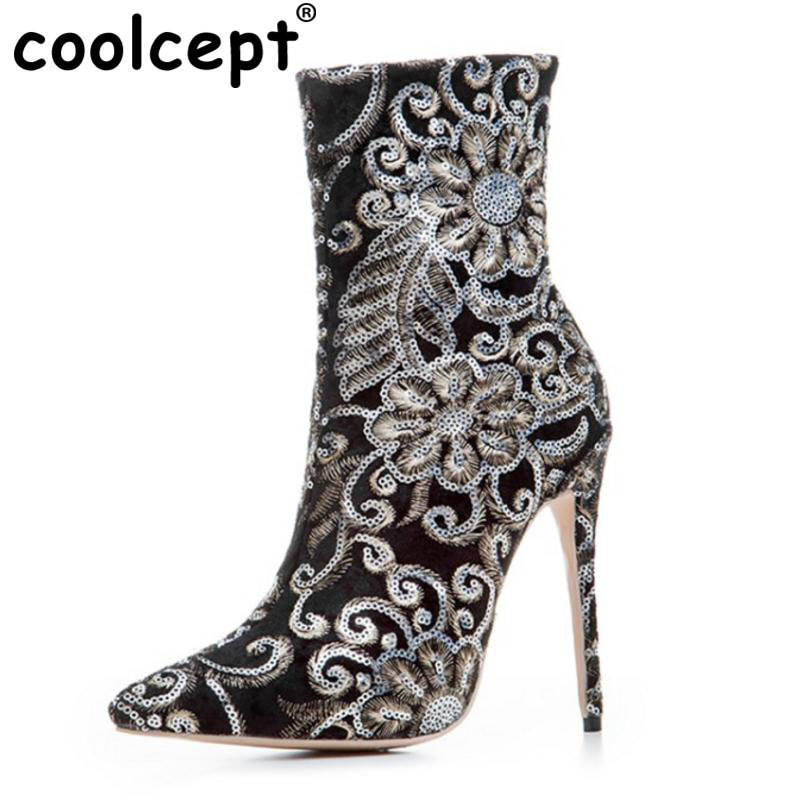 Coolcept Size 33-43 Women Brand Shoes Mid Calf High Heel Boots Flower Beading Half Embroidery Short Botas For Woman Footwears купить дешево онлайн