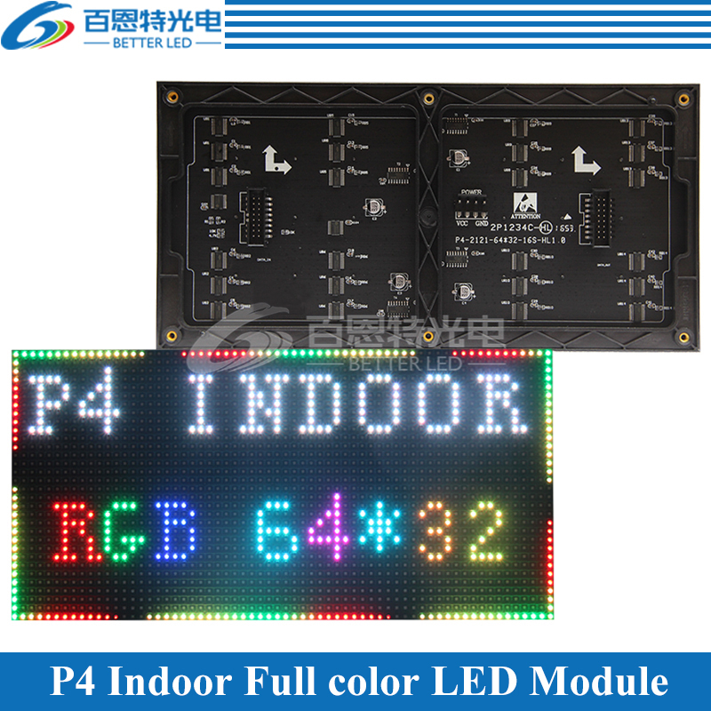 P4 LED Screen Panel Module 256*128mm 64*32 Pixels 1/16 Scan Indoor 3in1 SMD RGB Full Color P4 LED Display Panel Module