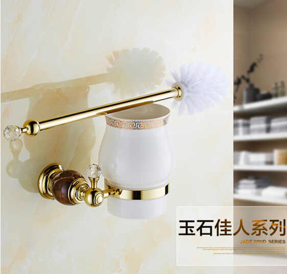 Fashion Europe style Wall Mounted Brass & Jade Golden Toilet Brush Holder Bathroom accessories flg wall mounted square toilet brush holder brass bathroom hardware ceramic cups chrome polished bathroom accessories set 85203