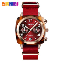 SKMEI Women Watches Quartz Wristwatches Big Dial Stopwatch Calendar Display Waterproof Quartz Watch Women relogio feminino 9186