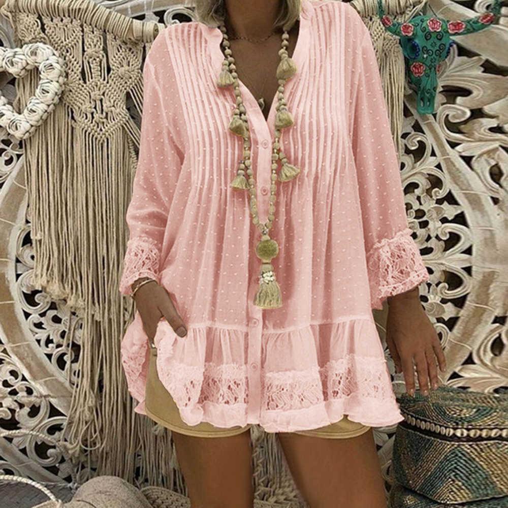 CALOFE плюс размер 5XL Большие размеры женские кружевные рубашки платье с длинным рукавом v-образным вырезом Плиссированное свободное мини-платье Женская Сексуальная Блузка Vestido