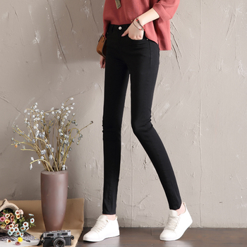 LYJMTDBK Women's white trousers pencil pants 2019 spring and autumn button pocket pants women's high waist elastic feet pants 3