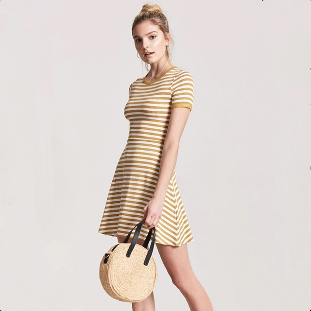 9ac00bd8e0f Office Dresses Ladies 2018 Kim Kardashian Boho Style Club Factory Gown De  Fiesta Dres Sexy Yellow Striped O Neck Mini Cotton