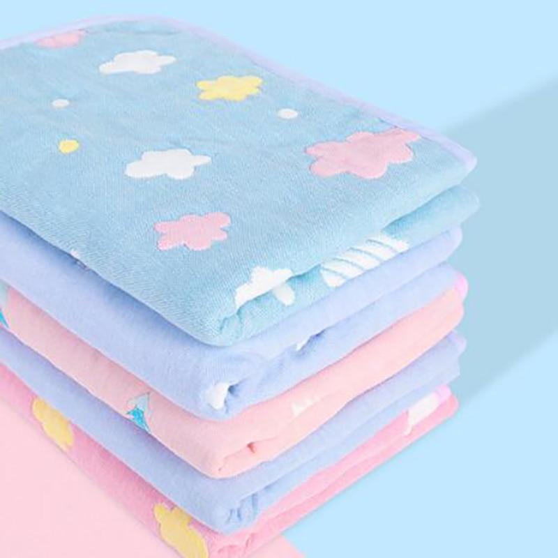 Newborn Baby Crib Diaper Mats Nappy Mat Cotton Crib Toddler Cartoon Printing Waterproof Washable Gauze Pad BHS003