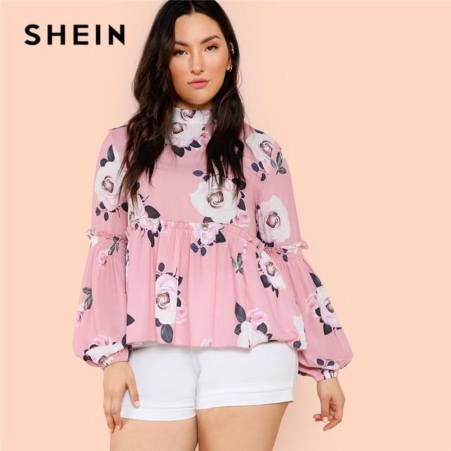 f22e8ac5cf07 SHEIN Pink Floral Print Stand Collar Long Lantern Sleeve Women Plus Size  Blouses 2018 Autumn Ruffle Hem Smock Top Blouses