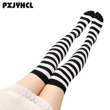 544309f48c7 Women Sexy Striped Stockings For Halloween Thigh High Stocking Over the Knee  Japanese Student Long Socks