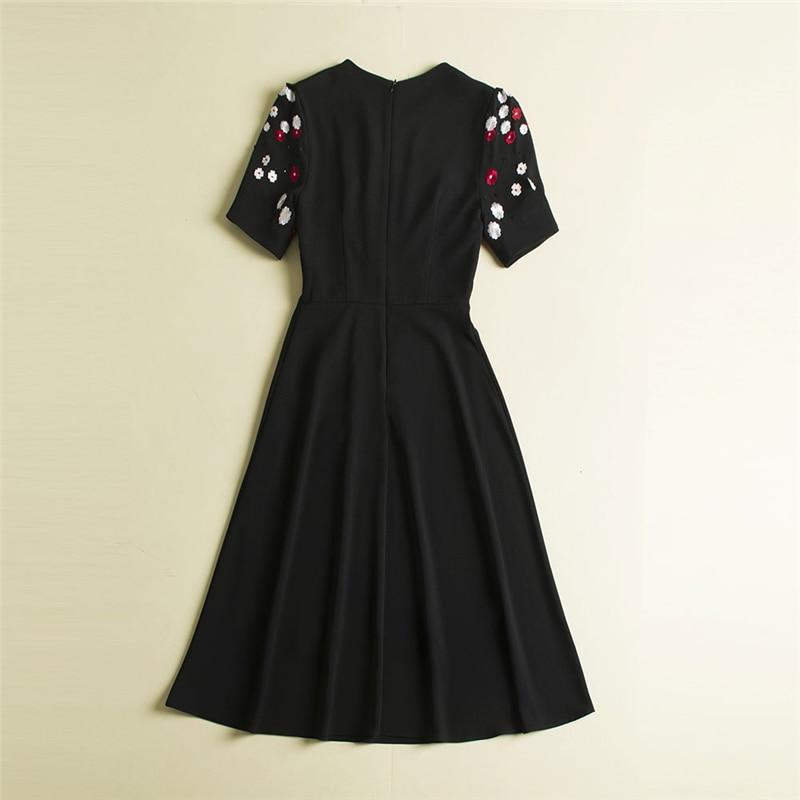 Manches Noir De Femme Robes Femmes Ete Appliques Broderie Mi Truevoker Robe Courtes Fleur Designer Qualité mollet À Haute F0q77x