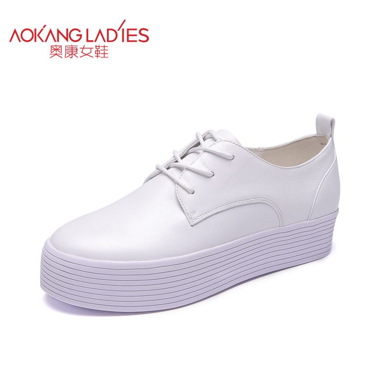 AOKANG 2017 New Arrival Women shoes genuine leather sweet ladies Pumps Women  Fashion shoes  Free shipping aokang 2017 new arrival women flat genuine leather shoes red pink white women shoes breathable and soft free shipping