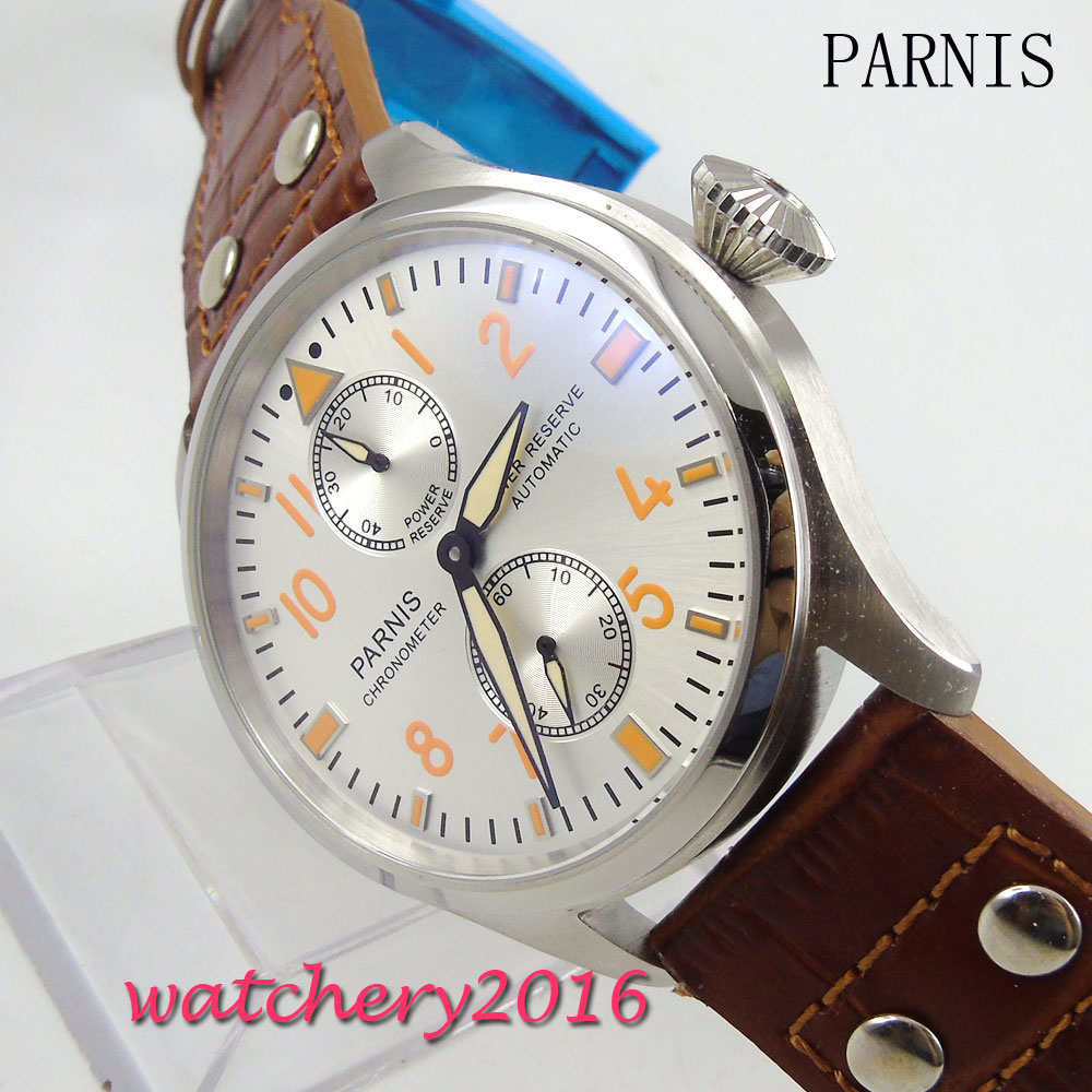 47MM Parnis white Dial deployment clasp Power Reserve Automatic movement Men's Watch