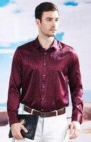 Весенние деловые рубашки в повседневном стиле мужская с длинными рукавами шелк тутового шелкопряда тонкий среднего возраста печатных шелк