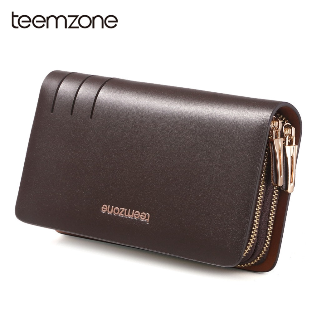 Teemzone Luxury Genuine Leather Men Wallets Double Zipper Purse Men Clutch  Bag Business Male Wallets Large Capacity Wallet S3310 3920d95984f