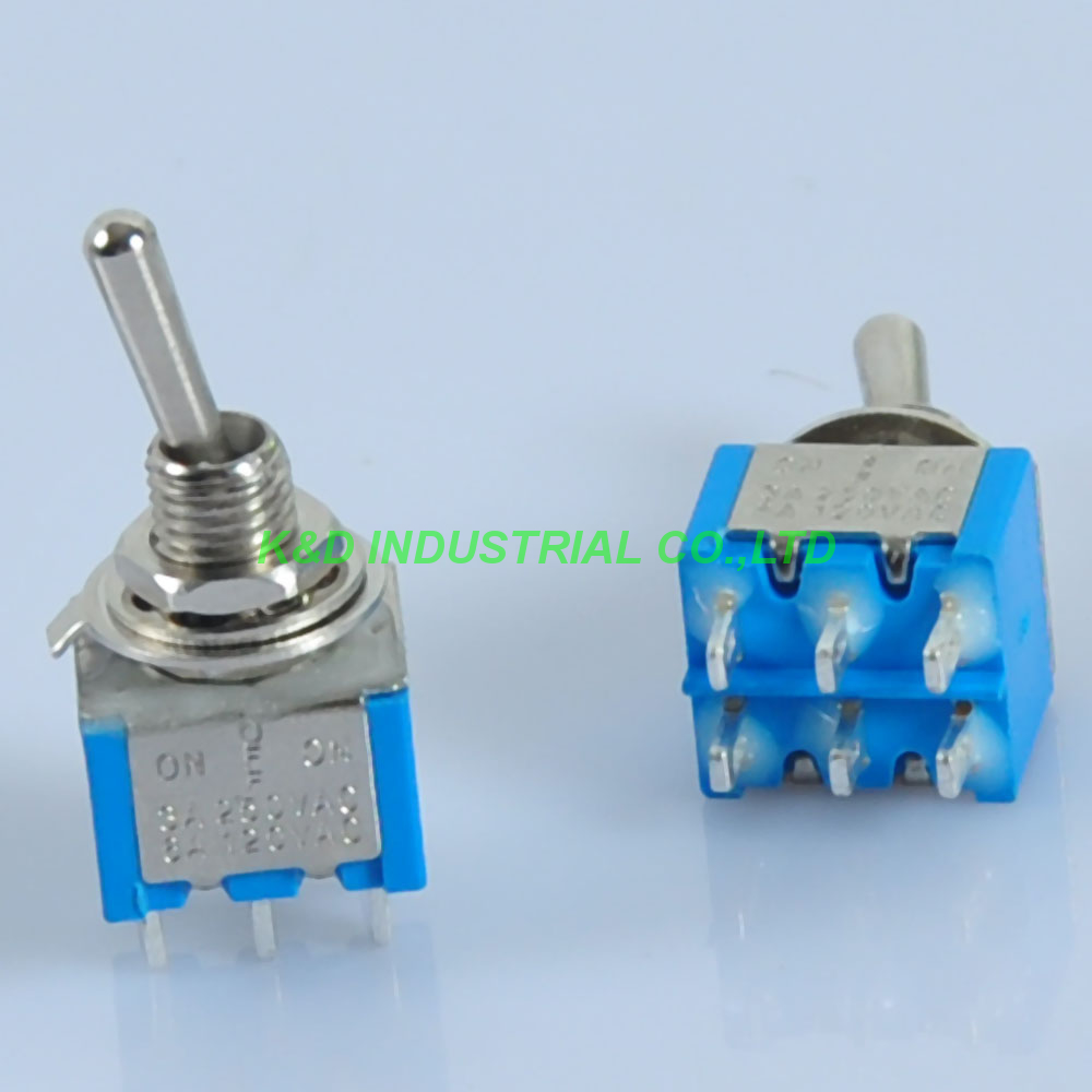 10pcs Blue Mini Toggle Switch DPDT ON OFF ON Solder 6Pin 6A Guitar Amp Audio Tube in Plug With Socket from Consumer Electronics