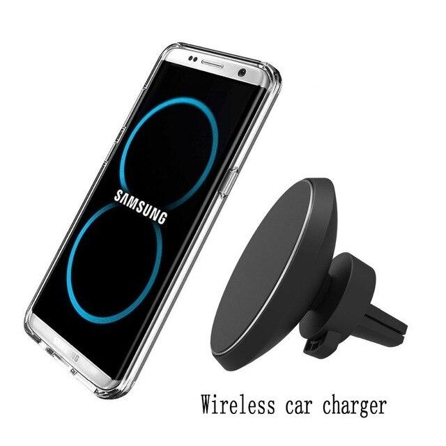 Магнитный держатель Беспроводной автомобиля Зарядное устройство W3 для iPhone8 X samsung Galaxy S6 S7 S8 плюс QI вентиляционное отверстие подставкой 5 V/1A зарядки