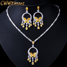 CWWZircons Noble Yellow Cubic Zirconia Stone Tassel Drop Big Necklace and Earring High Quality Women Prom Party Jewelry Set T026