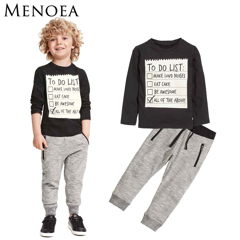 Menoea Baby Boy Clothing Set 2016 New Spring and Autumn Dark Grey long sleeve t-shirt + casual long pants 2pc suit kids clothes