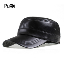 HL7071 genuine leather men baseball cap hat brand new  mens real adult solid adjustable army hats/caps