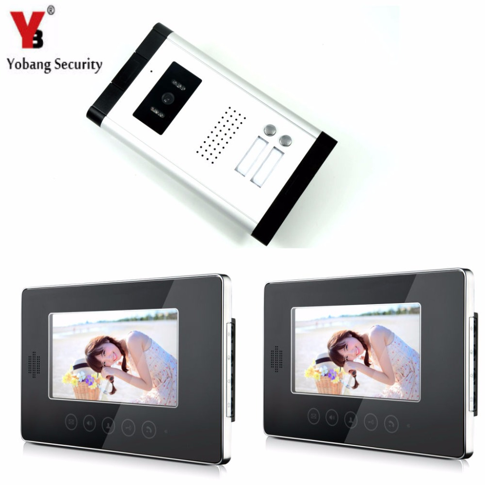 YobangSecurity 7 Inch Monitor Wired Video Doorbell Door Phone Speakphone Intercom 1 Camera 2 Monitor System For Home Security цены
